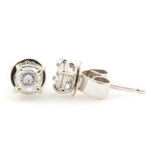 NEW Classic 18K White Gold Diamond 0.20CTW Stud Push Back Earrings