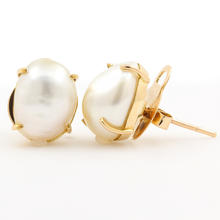 Classic 14K Yellow Gold 14.5MM Baroque Cultured Fresh Water Pearl Stud Earrings