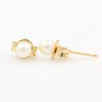 Estate 14K Yellow Gold Pearl 3.5MM Push Back Earrings Studs