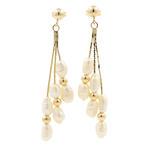 Vintage Estate Ladies 14K Yellow Gold Fresh Water Rice Pearl Drop Earrings