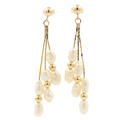 Vintage Estate Ladies 14K Yellow Gold Fresh Water Rice Pearl Drop Earrings