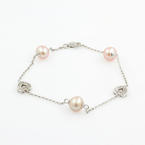 "Classic Ladies 14K White Gold Pink Pearl Heart 7 "" Statement Bracelet"