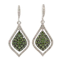 NEW Modern Ladies 10K White Gold Green Diamond 2.25CTW Dangle Fish Hook Earrings