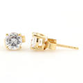 Classic Ladies 14K Yellow Gold Zirconia Push Back Stud Earrings