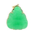 Vintage Estate 14K Yellow Gold Jade Buddha 40MM Pendant Jewelry