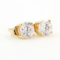 Classic Ladies 14K Yellow Gold Zirconia Push Back Stud Earrings