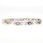 Estate Ladies 925 Silver Two Tone Yellow Purple Amethyst 7 Inch Bracelet