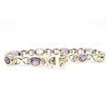 Estate Ladies 925 Silver Two Tone Yellow Purple Amethyst 7 Inch Bracelet