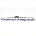 Estate Ladies 925 Silver Oval Cut Iolite 8 Inch Bracelet
