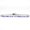 Estate Ladies 925 Silver Oval Cut Iolite 8 Inch Bracelet