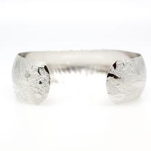 Estate 925 Silver Detailed Nature Motif Cuff Bracelet Bangle