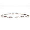 Estate 925 Silver Round Garnet Gemstone 7 Inch Bracelet
