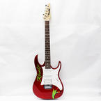 Gio Ibanez Red 6 String Electric Guitar with Kermit name and Paw Painted
