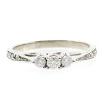 Classic 10K White Gold Three Stone Diamond 0.30CTW Engagement Anniversary Ring