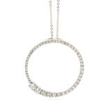 Modern 14K White Gold Diamond Ladies Eternity Pendant Chain Necklace - 2.50CTW