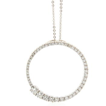 Ladies Modern 14K White Gold Diamond Eternity Pendant Chain Necklace - 2.50CTW