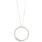 Modern Ladies 14K White Gold Diamond 2.5CTW Eternity Pendant Chain Necklace