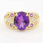 Vintage Estate 10K Yellow Gold Amethyst Diamond 2.10CTW Filigree Right Hand Ring