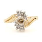 Fine Vintage Estate Ladies 14K Yellow Gold  C3 Diamond 0.35CTW Right Hand Ring