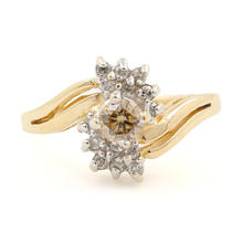 Fine Vintage Estate Ladies 14K Yellow Gold  C3 Diamond 0.35CTW Right Hand Ring