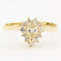 Estate 14K Yellow Gold Pear Diamond Halo 0.50CTW Right Hand Ring Jewelry