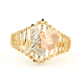 NEW Modern 10K Yellow Rose White Gold Rose Ornate Right Hand Ring