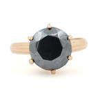 Vintage Estate Ladies 10K Rose Gold Onyx Gemstone 2.15CTW Engagement Ring