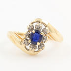 Vintage Retro Estate 10K Yellow Gold Blue Spinel Diamond 0.45CTW Right Hand Cocktail Ring
