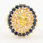 Vintage Ladies 14K Yellow Gold Yellow Topaz Blue Spinel Filigree Cocktail Ring