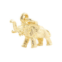 NEW 14K Yellow Gold 15MM Solid Elephant Charm Pendant
