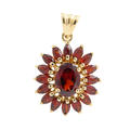 Retro Estate 10K Yellow Gold Oval Cut Garnet Cluster 25MM Pendant
