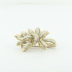 Spectacular Vintage 14K Yellow Gold Round Diamond Leaf Bow Brooch