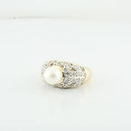 Lustrous 8mm Freshwater Pearl 14K Yellow Gold Round Diamond Ring