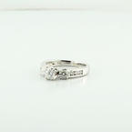 Exquisite 14k White Gold Round 3 Stone Diamond Engagement Ring