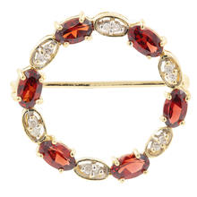 Vintage Estate 10K Yellow Gold Diamond Garnet 0.35CTW Round Circle 25MM Brooch
