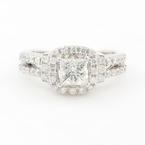 Modern Ladies 14K White Gold Princess Cut Diamond 1.50CTW Halo Engagement Ring