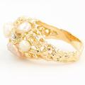Ladies Classic Estate 14K Yellow Gold Baroque Diamond & Pearl Cocktail Ring