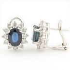 Classic 18K White Gold Diamond Sapphire 4.00CTW BirthStone Omega Back Earrings