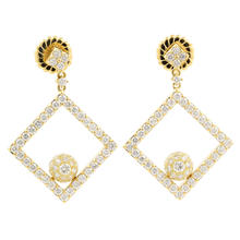 Retro Estate 18K Yellow Gold VS Diamond Push Back Earrings