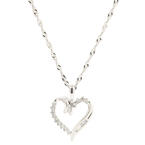 "Classic Modern 10K White Gold Diamond Heart Pendant 18"" 14K Chain Necklace"