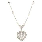 "Modern 14K White Gold Diamond Heart 1.15CTW Pendant 18"" 18K  Chain Necklace"