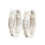 NEW Classic Womens 14K White Gold Natural Diamond Huggie Earrings