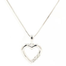 "Modern 10K White Gold Diamond Open Heart Pendant 18""  18k Chain Necklace Jewelry"