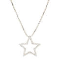 "NEW Modern 14K White Gold Diamond Star Pendant 18"" Chain Necklace Jewelry"