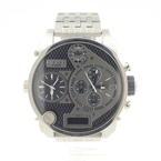 Diesel DZ7221 Big Daddy Black Dial Multi-Function Silver Men's Watch