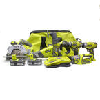 Ryobi One+ Plus P844 6 Piece Cordless 18V Lithium Power Tool Combo Kit
