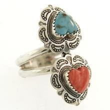 Estate Sterling Silver 925 Heart Turquoise Coral Size 8.5 Ring