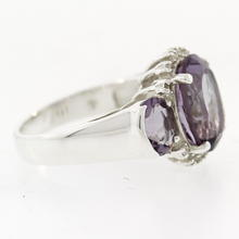 Estate 925 Silver Purple Amethyst Zirconia Cocktail Ring Size 7