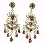 Vintage 925 Silver Garnet 50MM Push Back Chandelier Earrings