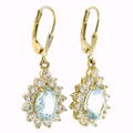 Estate 925 Silver Yellow Tone Blue Pear Cut Topaz Zirconia French Back Earrings